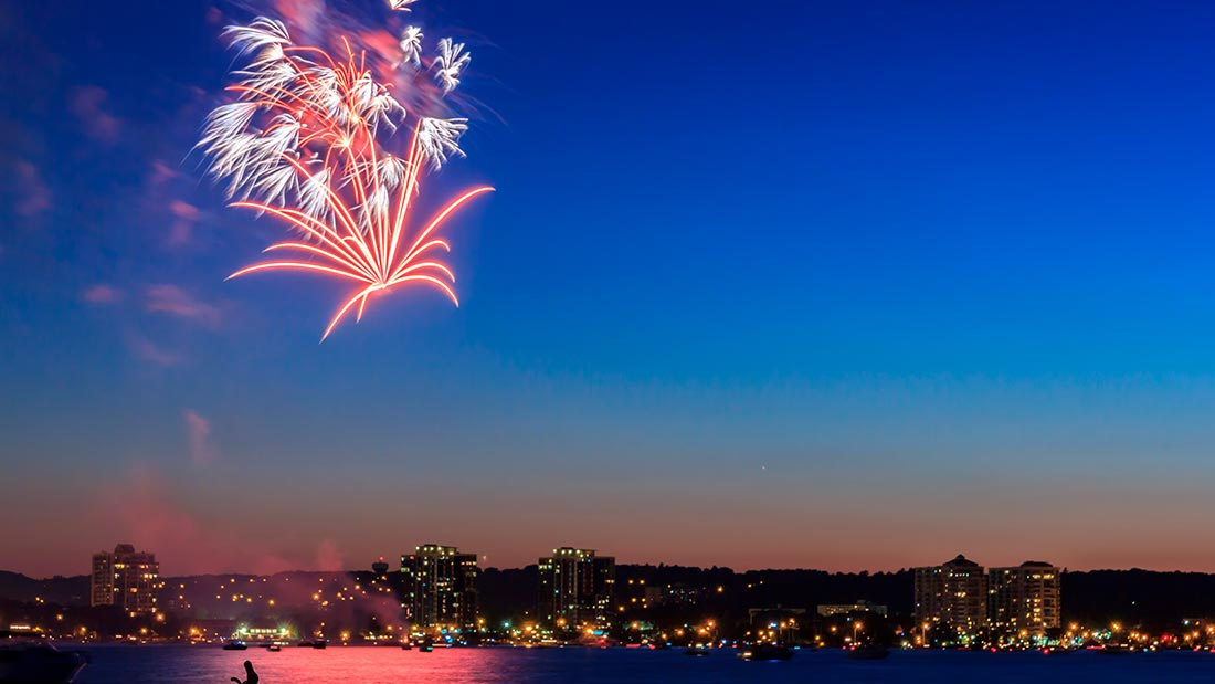 Fireworks above barrie and georgian bay